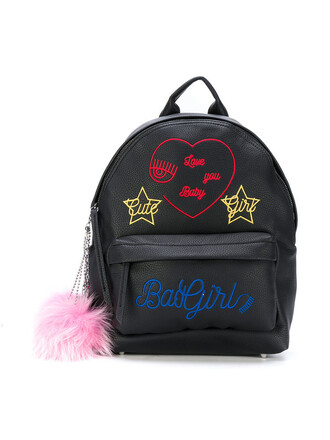 embroidered women backpack leather black bag