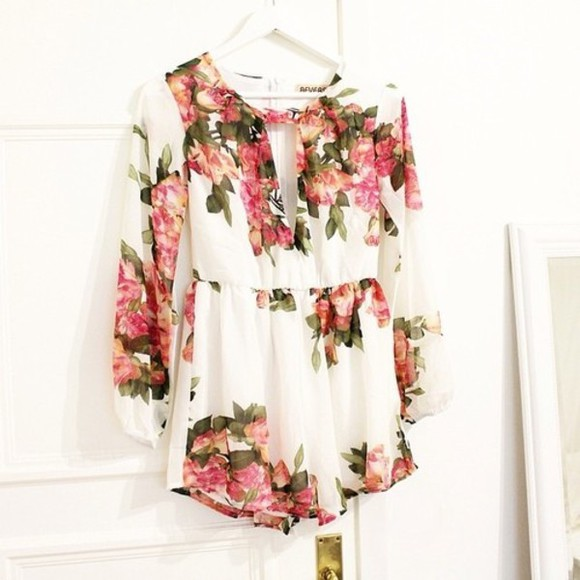 dress pink dress blouse flowers print white white dress