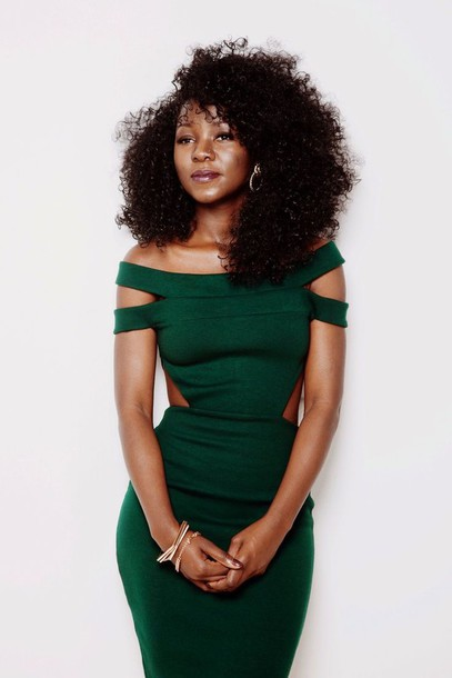 dress cut-out green dress clothes off the shoulder beautiful black girls killin it forest green bodycon dress