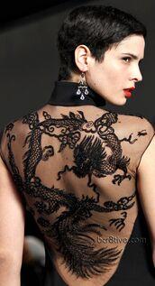 dress,tattoo,dragon tattoo,sexy,hot,omfg,black,black dress,transparent
