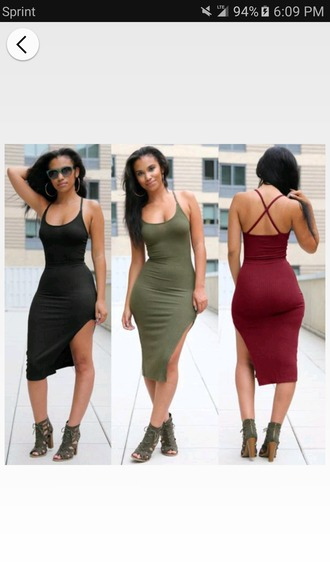dress olive green midi dress criss cross back side split ribbed bodycon dress slit dress party dress sexy party dresses sexy dress party outfits summer dress summer outfits cute cute dress girly girly drss girly dress date outfit birthday birthday dress summer hoilday summer holidays clubwear club dress