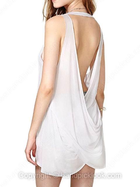 White Round Neck Sleeveless Ruffles Backless Vest - HandpickLook.com