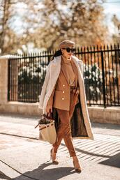 hallie daily,blogger,coat,pants,sweater,jacket,bag,pumps,beret,winter outfits,fall outfits,fall colors,blazer,beige sweater