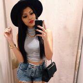 shirt,turtleneck,black,white,stripes,instagram,tumblr,fvkin,hat,sun hat,crop tops,shorts,bag