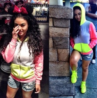 jacket sweater highlighter yellow pink hoodie bright india westbrooks colorful neon grey zip cotton comfy winter outfits fashion style girly shoes old school orange high heels cardigan india love