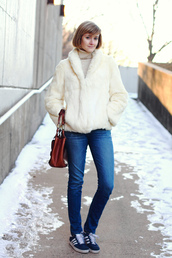 district of chic,blogger,jeans,faux fur jacket,off-white,sweater,coat,shoes,bag,white fur coat,fur coat,white coat,winter coat,winter outfits,brown bag,blue jeans,tumblr,turtleneck,sneakers,blue sneakers,adidas originals,adidas,adidas shoes,white fur jacket