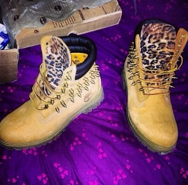 shoes leopard print leopard print leopard print leopard print toungue timberland studs
