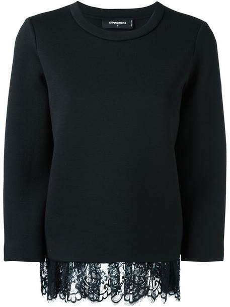 Dsquared2 jumper loose women draped lace black wool sweater