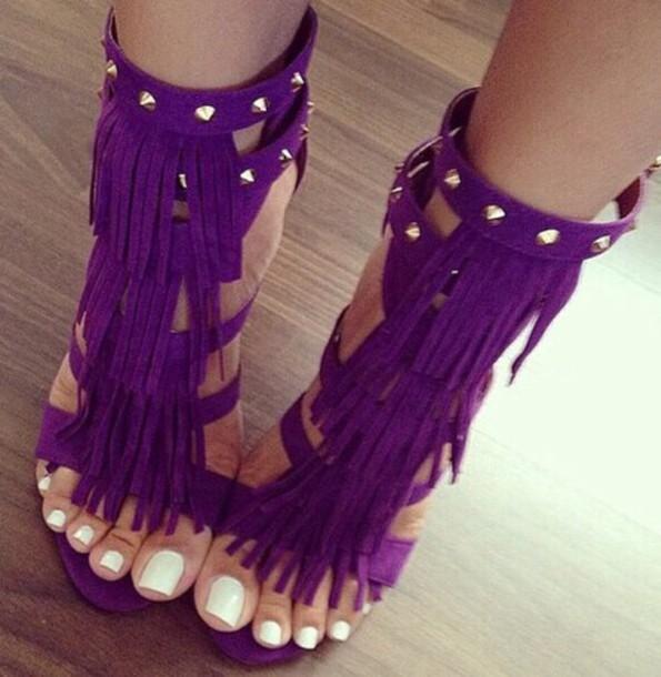 shoes purple shoes gold studs