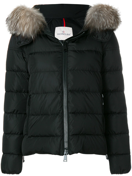 moncler coat fur fox women black