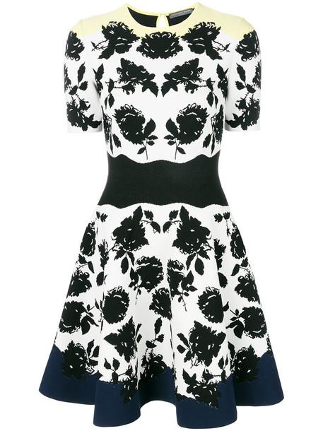 Alexander Mcqueen dress women spandex floral white knit