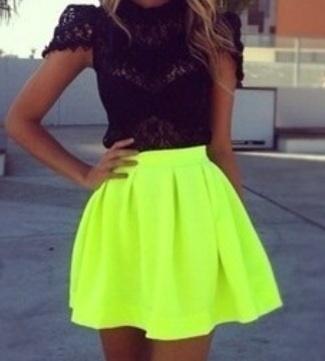 Neon green skater skirt  / ShopSoHollywood