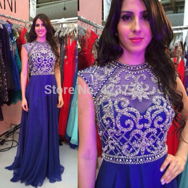 Aliexpress.com : Buy New Arrival 2014 Gorgeous O Neck Cap Sleeves Pearl Beaded Royal Blue Backless vestido formatura Plus Size Prom Dresses from Reliable cap sleeve evening dress suppliers on 27 Dress