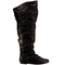 Womens thigh high twin buckle flat boots
