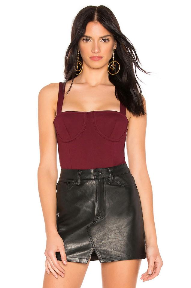 Donna Mizani Lana Bodysuit in burgundy