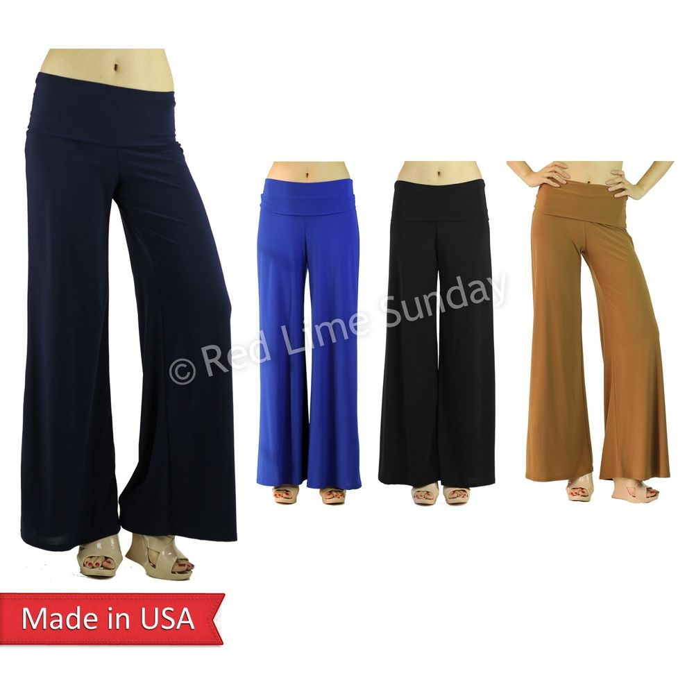 Stretchy Black Fold Over Wide Straight Wide Leg Palazzo Pants Bottoms Trouser US