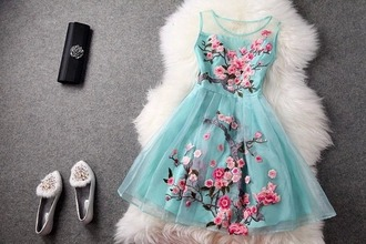 dress floral dress teal dress short dress cherry blossom