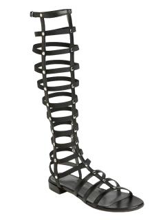 High leg gladiator flat sandals with studs