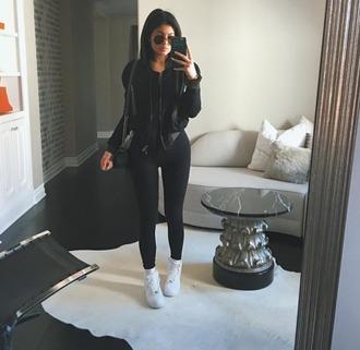 jacket kylie jenner all black everything white sneakers bomber jacket leggings chanel bag mirrior selfies sunglasses