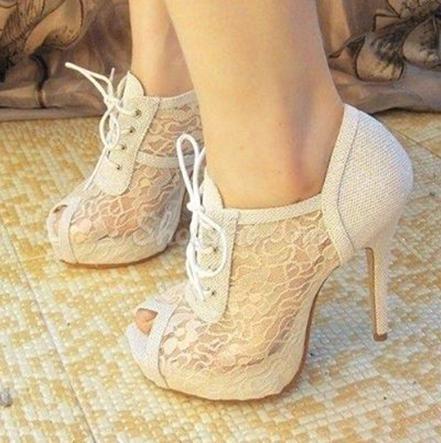 Elegant White Peep Toe Lace-Up Bowtie Ankle Boots