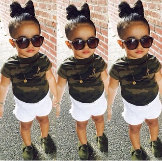 sunglasses leopard print toddler army green white shorts camouflage camo shirt moccasins kids moccasins fashion style kids fashion bows bow hair bow