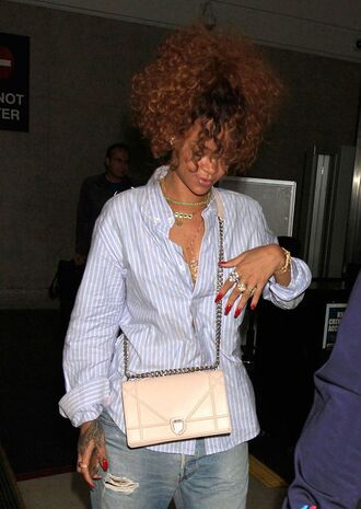 bag diorama bag dior bag dior pink bag shirt stripes striped shirt blue shirt curly hair rihanna celebrity style celebrity necklace