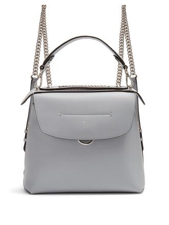 mini back backpack leather backpack leather light grey bag