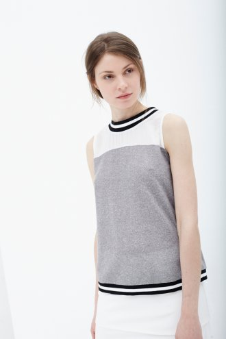Grey Jersey Sleeveless Sweater with Stripe Rib Trim -  from Lavish Alice UK