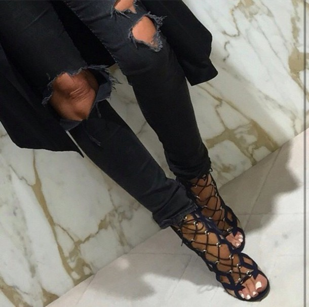 shoes black open toes heels high heels strappy heels sandals lace up heels lace-up shoes lace up sandals sandal heels