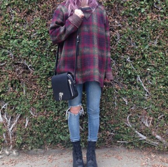 long sleeves plaid sweater flannel tartan patterned sweater grunge bag