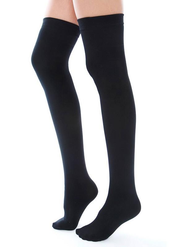 Thigh high socks in black