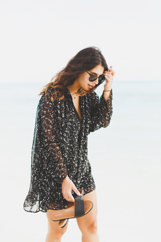five five fabulous blogger dress shoes sunglasses mini dress sandals slide shoes aldo spring outfits tumblr black dress long sleeves long sleeve dress printed dress v neck spring dress