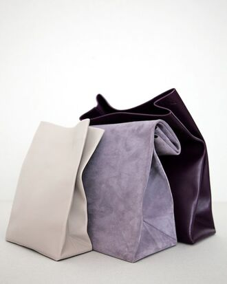 bag adaism pouch leather pouch leather leather bag suede suede bag plum lilac off-white