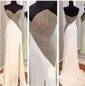 dress,white dress,prom dress,embelished dress,diamante dress,prom,sleeveless,sleeveless dress
