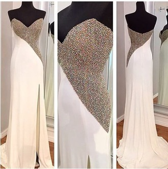 dress white dress prom dress embelished dress diamante dress prom sleeveless sleeveless dress