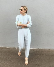 pants,blue pants,top,blue,sunglasses,sandals