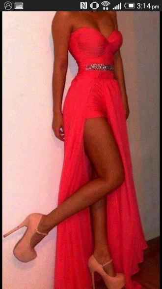 dress coral dress hi low dresses