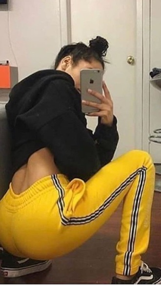 pants yellow joggers