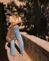 jeans,white top,denim,wide leg jeans,sandals,white sandals,sunglasses