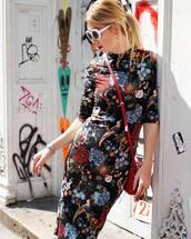 dress,tumblr,floral,floral dress,bodycon dress,bag,crossbody bag,sunglasses,white sunglasses,midi dress