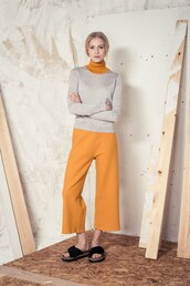 pants,wide-leg pants,yellow,mustard,minimalist