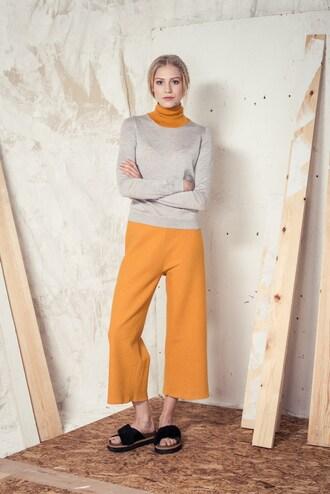 pants wide-leg pants yellow mustard minimalist