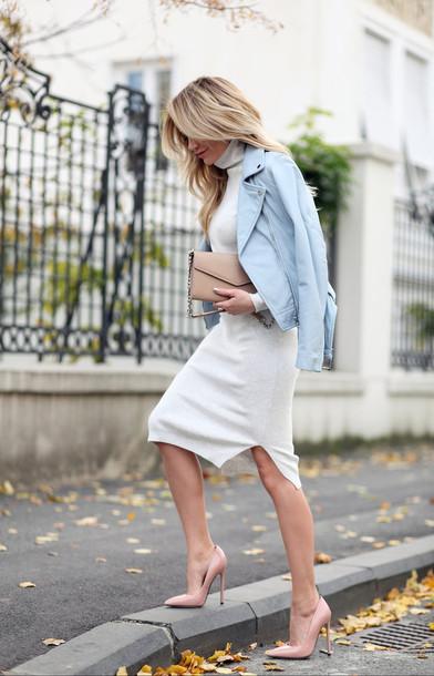40461311989 dress tumblr white dress midi dress turtleneck turtleneck dress knitted dress  pumps high heel pumps pointed