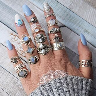 jewels cherry diva boho bohemian ring stack knuckle ring ring boho jewelry silver silver ring silver jewelry sterling silver rings