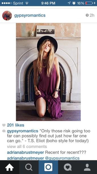 dress boho chic purple dress hippie