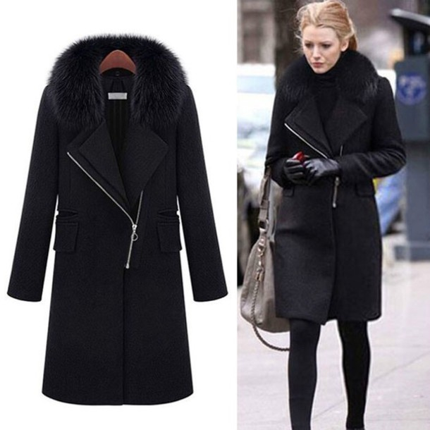 Coat: blake lively warm black fur - Wheretoget