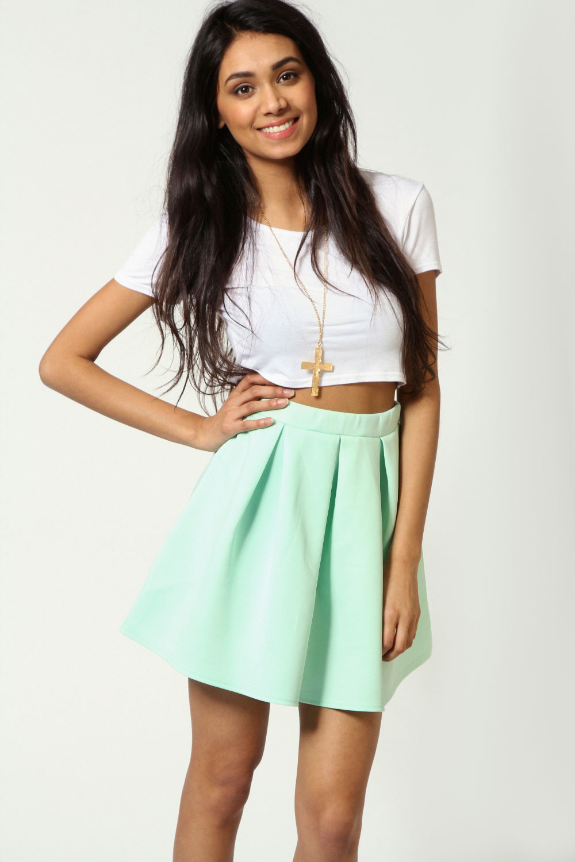 Boohoo Leanne Box Pleat Skater Skirt In Mint Size 14   eBay