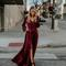 Swept away maxi dress - burgundy