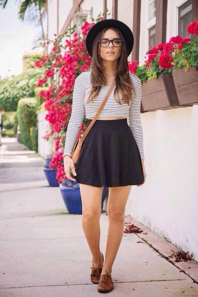shirt skirt black skirt blouse black skater skirt crop tops leather purse brown leather purse cross body leather bag cross body bag, brown leather bag striped shirt hat bag