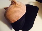 hat,straw hat,wool hat,kitten ear hat.